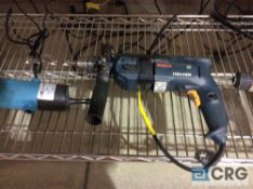 Lot of (5) asst electric hand tools including (1) Bosch 1194VSR hammer drill, (3) asst electric