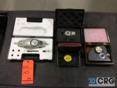 Lot of (4) dial gages including, (1) PTC 408 ergo durometer, (1) Boston Metrology push / pull scale,