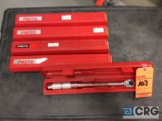 Lot of (5) Stanley Proto 3/8 drive micrometer torque wrenches with cases