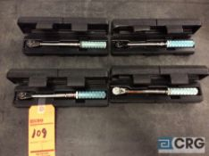 Lot of (4) Armstrong 64-038 1/4 drive torque wrenches with cases