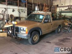 1988 GMC 2500 pick up truck, V-8 engine, mileage N/A, 8 foot bed, with plow and frame mount, (USED