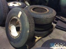 Lot of (4) asst 1000R20 truck tires, mounted