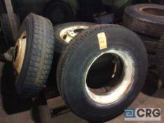 Lot of (4) asst 11R225 truck tires, mounted