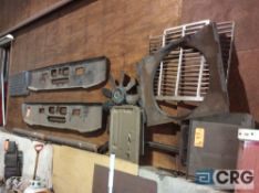 Lot of asst Mack truck parts, front bumpers, cooling fan, brakes, etc