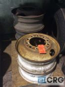 Lot of (5) truck rims, 22.5 sized and piloted hubs