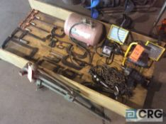 Lot of asst hand tools including clams, air tank, lights, etc