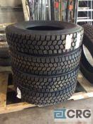 Lot of (4) asst retread 11R225 truck tires
