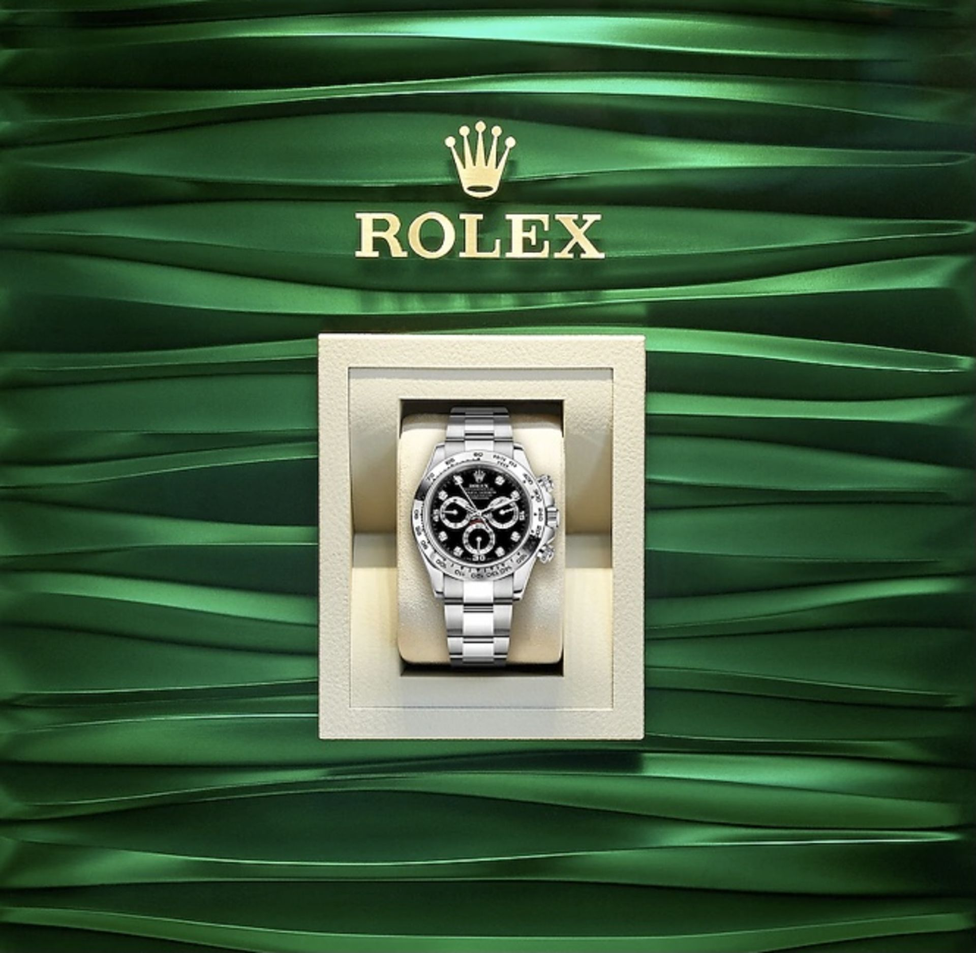 "ROLEX COSMOGRAPH DAYTONA 18ct ""WHITE GOLD"" BRAND NEW - BLACK DIAL - DIAMOND HOUR MARKERS *WHY WAIT* - Image 2 of 2"