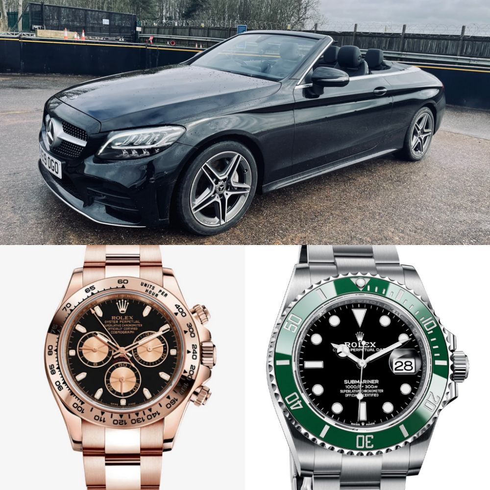2021(Brand New) Rolex Submariner *Kermit* - 2020 Rolex Cosmograph Daytona *18ct Everose Gold* - 2019 Mercedes-Benz C220d *AMG Cabriolet* + MORE