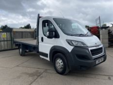 """PEUGEOT BOXER 435 L4 2.0HDI START/STOP """"LWB FLATBED WITH ELECTRIC TAIL LIFT -EURO 6 ADD BLUE -18 REG"""