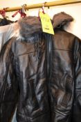 Black Leather Shearling Lined Parka