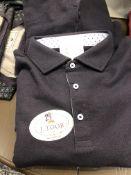LOT: (2) Charles Long Sleeve Navy Polo Shirts, (1) S, (1) L, (2) Charles Long Sleeve Merlot Polo