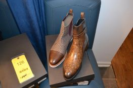LOT: (1) Chelsea Tweed Multi Boot, 10, (1) Jodhpur Patina Boot, 10