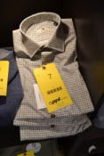 LOT: (4) Woody Brown Basketweave Shirts, (1) S, (1) M, (1) L, (1) XL