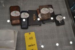 LOT: (3) Bosca Wallets, (1) Bosca Leg Suede-Ostrich Money Clip, (2) Cigar Cases
