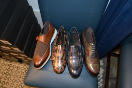 LOT: (1) Single Monk Strap Tweed Shoes, 10 (1) Belgian Patina Slippers, 10, (1) Patina Loafers, 10