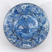 ARTE GIAPPONESE A large blue and white arita porcelain tray painted with vegetal motifs and charact