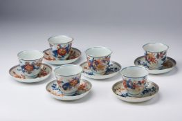 Arte Cinese A set of six Imari porcelain cupsChina, 18th Century.