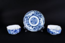 ARTE GIAPPONESE A group of blue and white Arita pottery items bearing marks at the baseJapan, 18th-