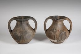 Arte Cinese Two black pottery lifan amphorasChina, Han period, 206 b.C.- 220 AD.