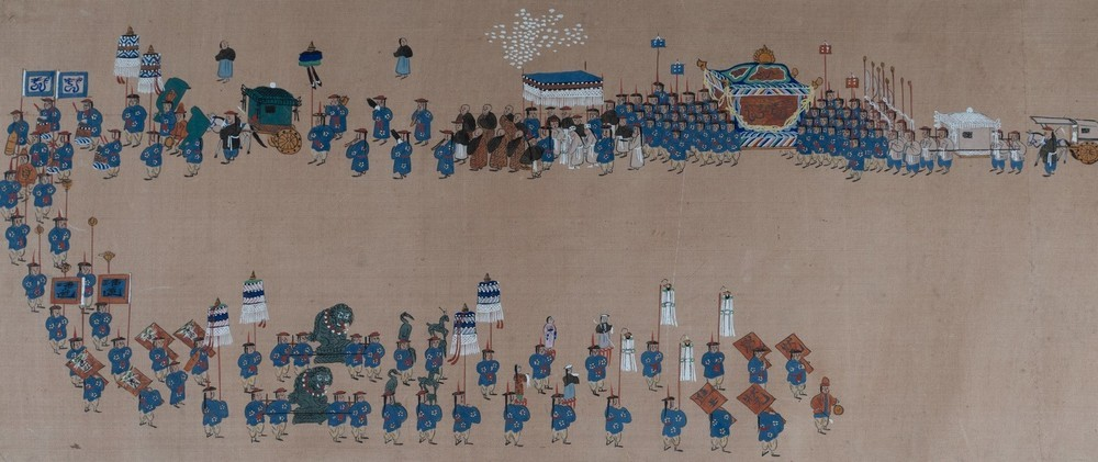 . A pair of paintings on silk depicting royal parades Korea, 19th century . - Image 2 of 6