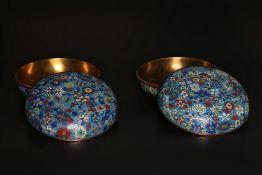 Arte Cinese  A pair of cloisonné enamel round boxesChina, early 20th century .