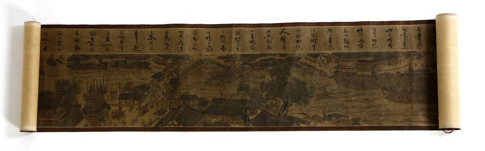 Arte Cinese A very long scroll on paper with a copy of Zhang Zeduan famous painting China, 20th cen - Image 5 of 11