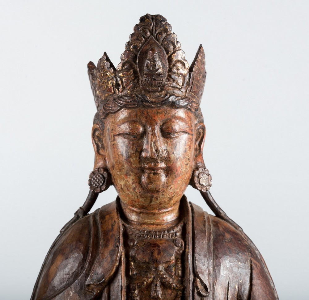 Arte Cinese A hardwood sculpture of Guanyin China, Yuan dynasty, 1279 - 1368. - Image 3 of 7