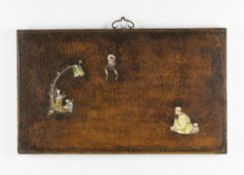 Arte Cinese  A wooden lacquered panel decorated with porcelain figures China, Qing dynasty, 18th cen