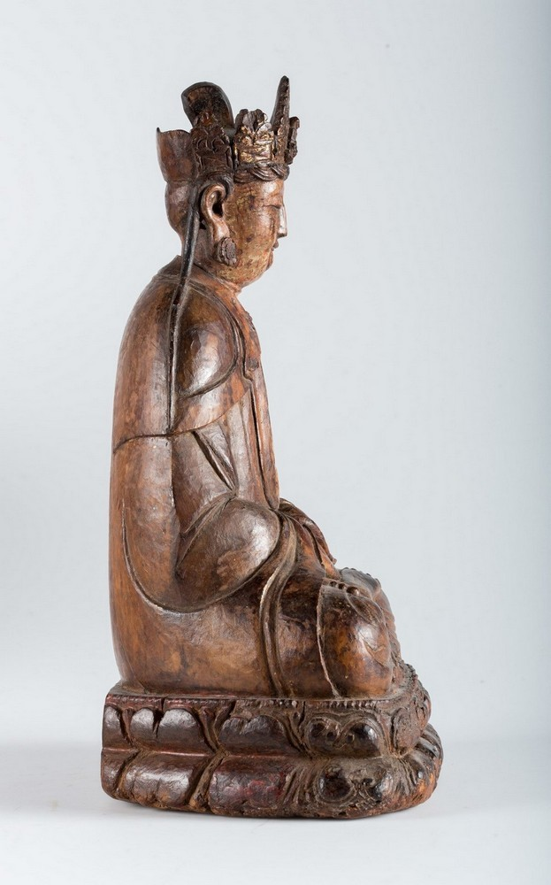 Arte Cinese A hardwood sculpture of Guanyin China, Yuan dynasty, 1279 - 1368. - Image 4 of 7