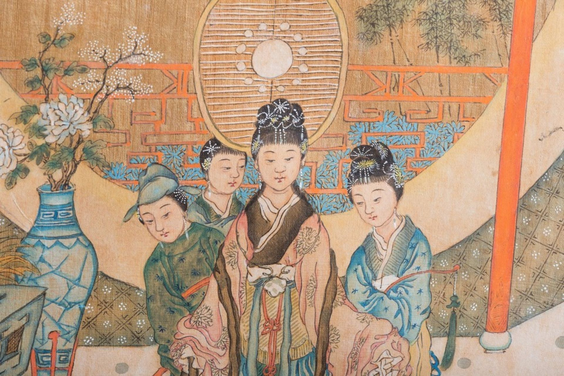 Arte Cinese A pair of paintings on silk depicting courtly scenesChina, Qing dynasty,19th century . - Image 3 of 3