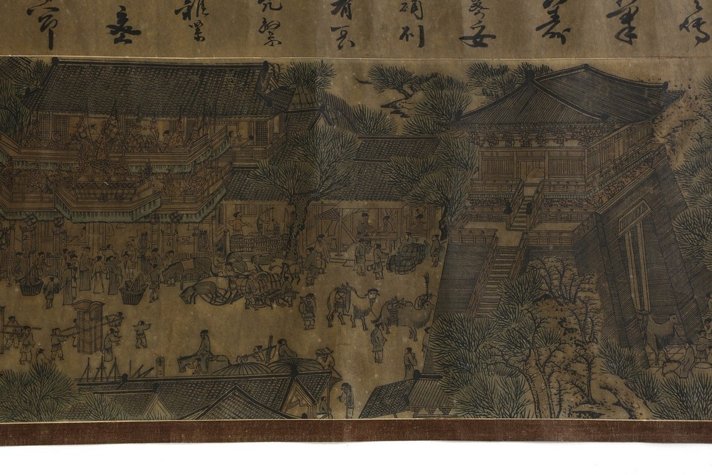 Arte Cinese A very long scroll on paper with a copy of Zhang Zeduan famous painting China, 20th cen - Image 8 of 11