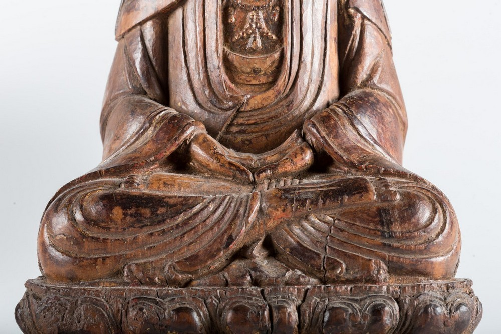 Arte Cinese A hardwood sculpture of Guanyin China, Yuan dynasty, 1279 - 1368. - Image 2 of 7