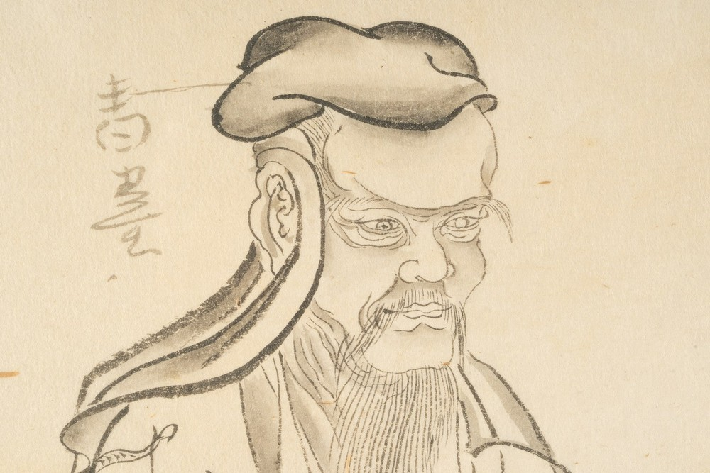 Arte Cinese Two paintings: one depicting a seated scholar, the other a crab China, 19th century . - Image 5 of 5