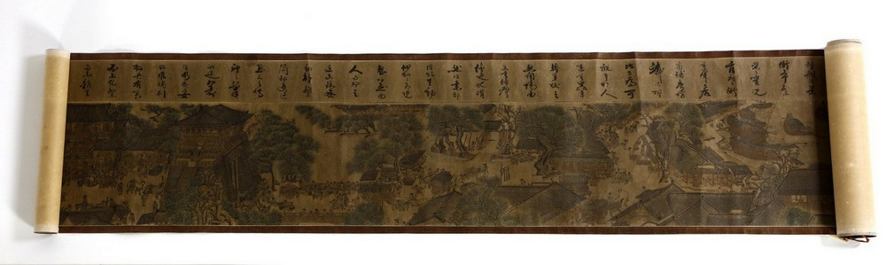 Arte Cinese A very long scroll on paper with a copy of Zhang Zeduan famous painting China, 20th cen
