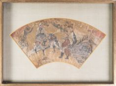 ARTE GIAPPONESE  A paper folding fan decorated with characters riding Japan or Korea, 18th-19th cent