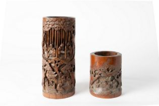 Arte Cinese  Two bamboo carved brush pots (bitong)China, Qing dynasty, 19th century .