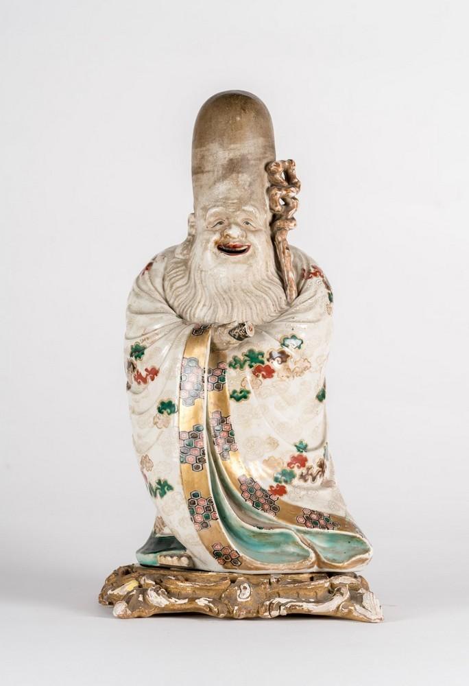 ARTE GIAPPONESE A ko-kutani porcelain figure of FukurukujioJapan, 18th century .