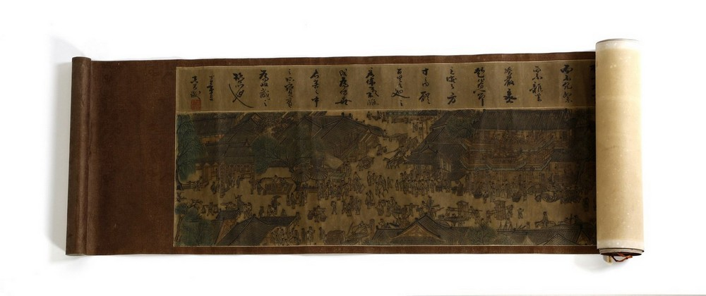 Arte Cinese A very long scroll on paper with a copy of Zhang Zeduan famous painting China, 20th cen - Image 7 of 11