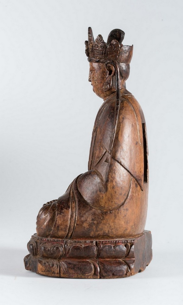 Arte Cinese A hardwood sculpture of Guanyin China, Yuan dynasty, 1279 - 1368. - Image 6 of 7