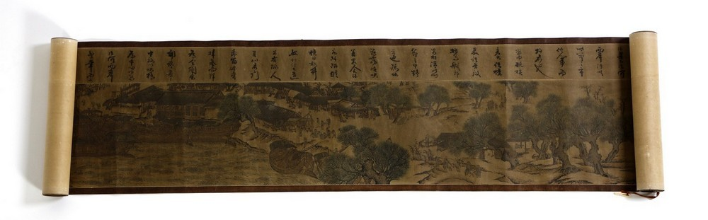 Arte Cinese A very long scroll on paper with a copy of Zhang Zeduan famous painting China, 20th cen - Image 4 of 11