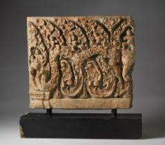 Arte Sud-Est Asiatico  A large terracotta panel with a mythological scene Indonesia, 18th century .