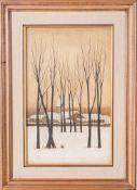 Ryonosuke Fukui Ryonosuke Fukui (1924-1986)Snowy landscape with bare trees Japan, mid 20th century O