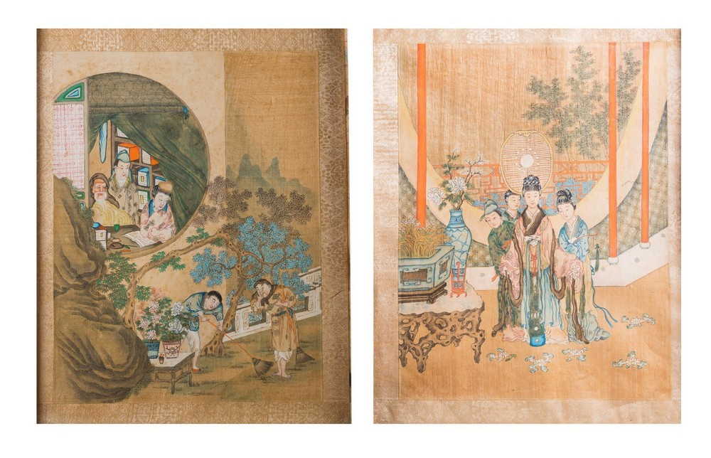 Arte Cinese A pair of paintings on silk depicting courtly scenesChina, Qing dynasty,19th century .