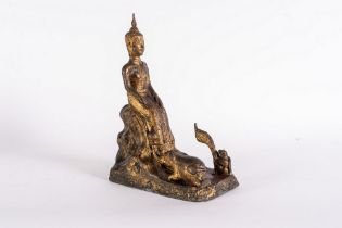 Arte Sud-Est Asiatico  A bronze lacquered figure of Buddha Thailandia, 19th century .