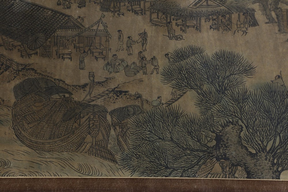 Arte Cinese A very long scroll on paper with a copy of Zhang Zeduan famous painting China, 20th cen - Image 9 of 11