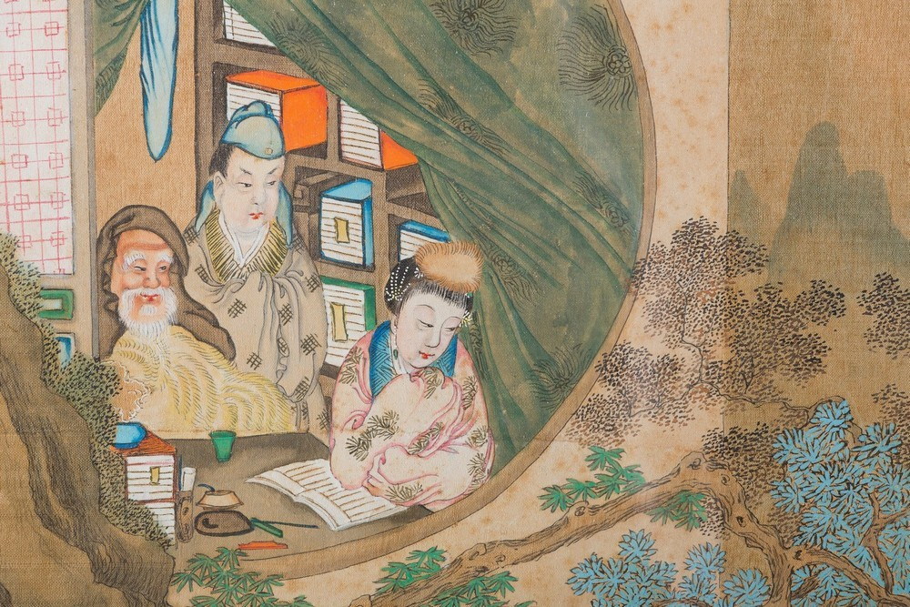 Arte Cinese A pair of paintings on silk depicting courtly scenesChina, Qing dynasty,19th century . - Image 2 of 3