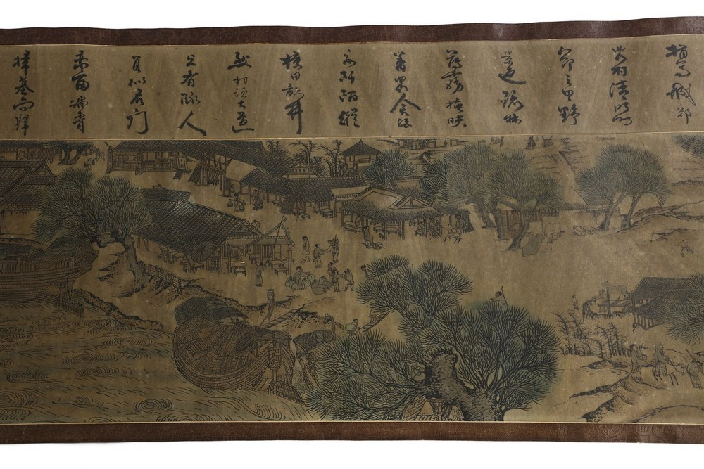 Arte Cinese A very long scroll on paper with a copy of Zhang Zeduan famous painting China, 20th cen - Image 10 of 11