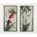 Arte Cinese A pair of paintings on paper depicting a bamboo and carps China, 20th century .