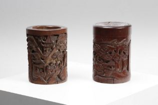 Arte Cinese  A wooden carved brush pot and box China, XIX secolo .